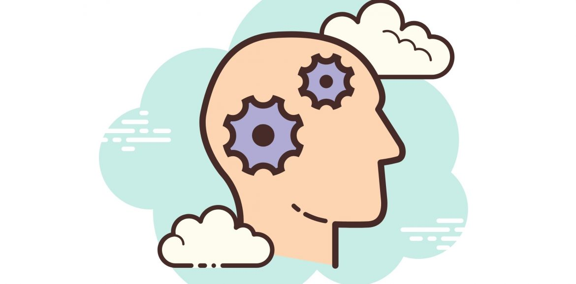 illustration of a brain with cogs working
