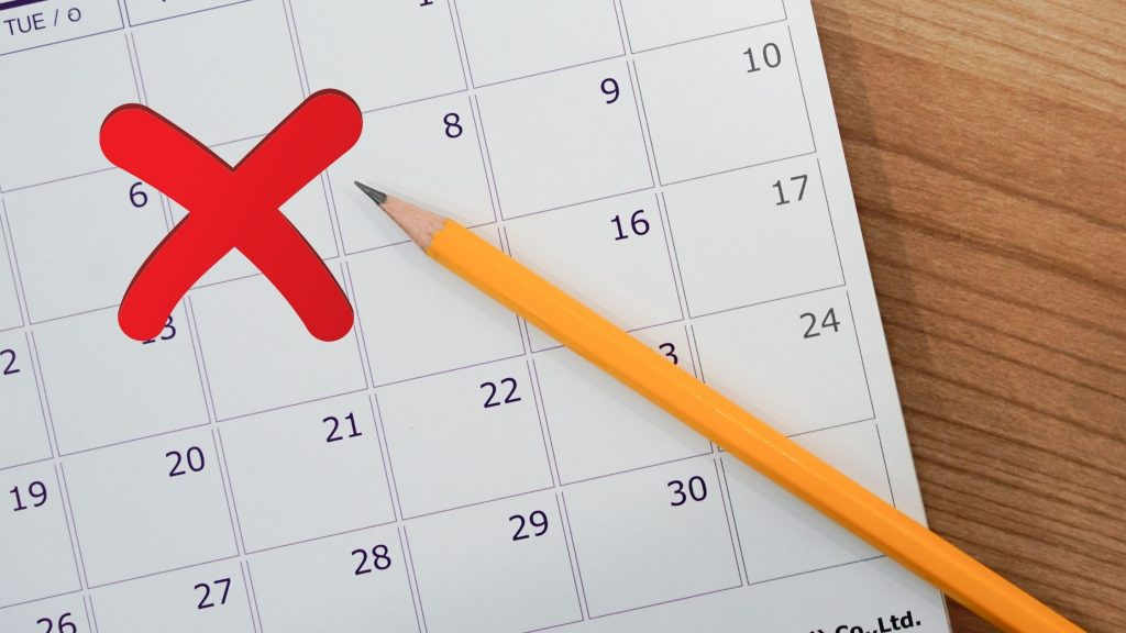 Calendar with a date cancelled
